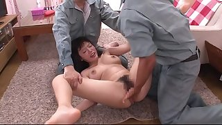 Submissive Asian lady is getting her hairy bolt from the blue drilled