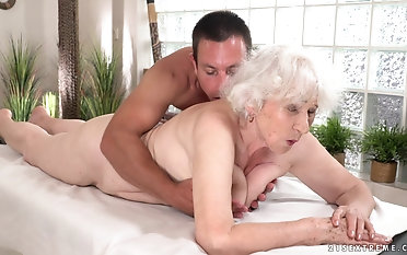 Naughty granny Norma gets their way pussy fucked apart from a young cock