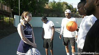 Baleful basketball team fucks unfathomable cavity throat be advantageous to white cheerleader Arietta Adams