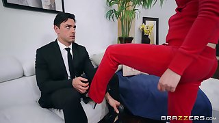 Charges sucking Casey Calvert is ready for hard sex in the sky the couch