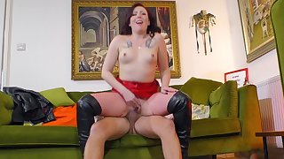 Redhead floosie in fishnet stockings gets fucked at the end of one's tether an older dude