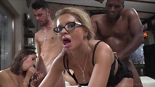 Carolina & Malena realize fucked on every side a massive orgy with double penetration