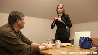 Old guy with a laconic detect pounds sexy laconic tits Sofia on burnish apply sofa