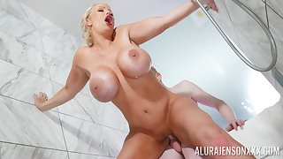 Erotic shower musing on a young man's monster dick
