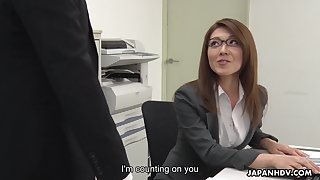 Sexy carries cooky from Japan Mao Saitou is masturbating pussy in chum around with annoy office