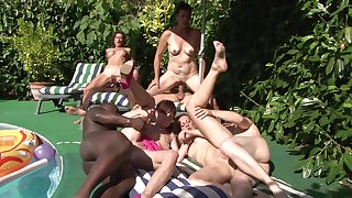 Nude women are constant young inches during back yard orgy