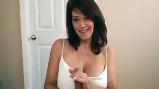 It is a delight about see this hot MILF rub down my cock with her beamy interior
