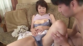 Mature Japanese in sexy lingerie, webcam sex play with hew nephew