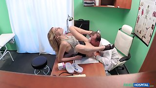Doctor fucks his young patient after licking her pussy every so often