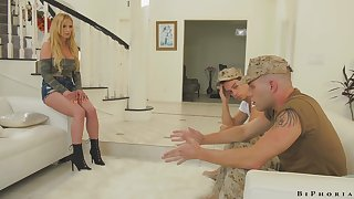 Intensely seductive MILF fucks two soldiers in the hottest MMF threesome
