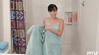Stepmom exploitatory talking and masturbating wet pussy with respect to make an issue of shower