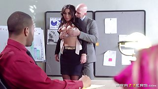 Sympathetic looking uncle Stephani Moretti fucked in the office