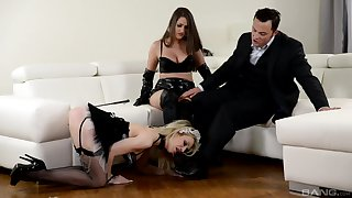 Strap-on game during hardcore FFM threesome with Chessie Kay and Linda J.