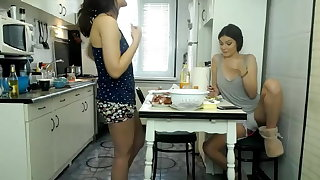 Belle lesbian teens masturbate beside the kitchen