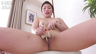 Asian beauty play with toys in shower