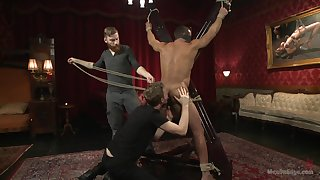 Nimble bareback BDSM porn with a couple be required of naked gay men