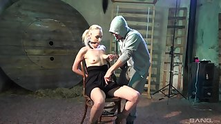 Obedient blonde gets the brush dose of harsh porn increased by sperm on tits