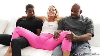 Young blonde with thick ass, crazy black threesome on the couch