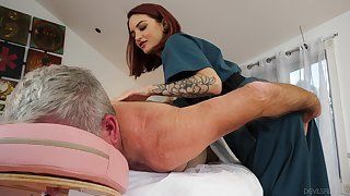 Physical psychotherapist Lola Fae helps an older man feel invigorated