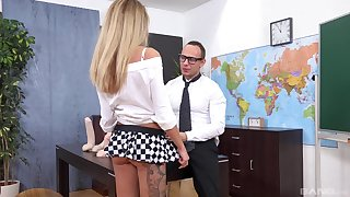 Small tits blondie Tequila Girl sucks a dildo and gets fucked