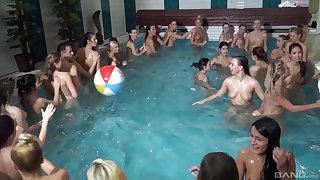 Wild sex orgy with lot of cock hot to trot models in the pool. HD