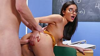 Kinky schoolgirl seduced instructor for ass-fuck romp
