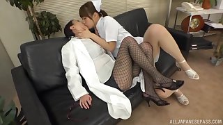 Asian nurse goes animated rendering with female's wet pussy
