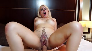 Hardcore dicking on the purfling limits with a tattooed blondes housewife